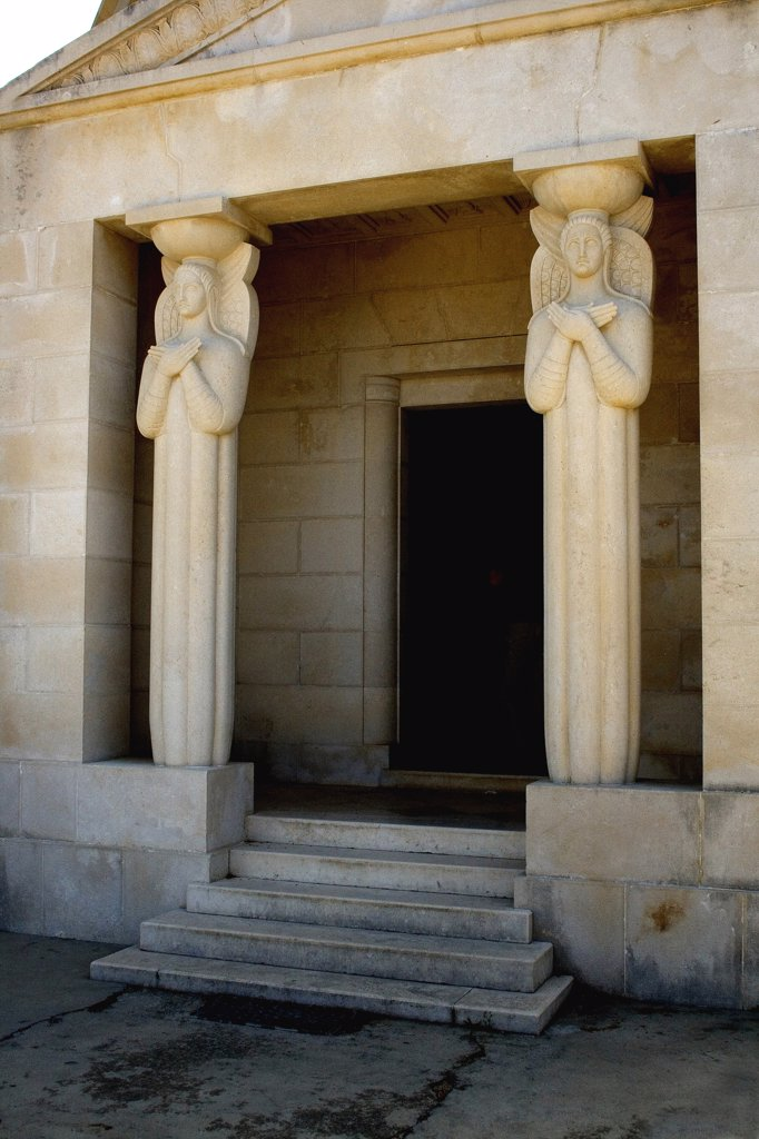 Entrance of a mausoleum, Racic Mausoleum, Cavtat, Dalmatia, Croatia : Stock Photo