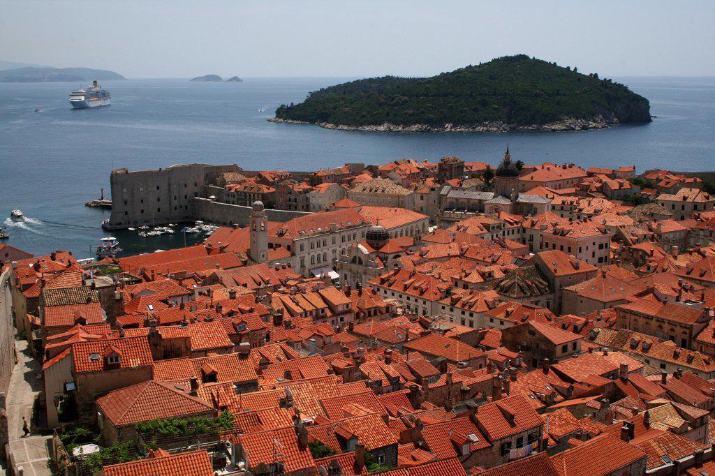 Buildings in a city, Dubrovnik, Dalmatia, Croatia : Stock Photo