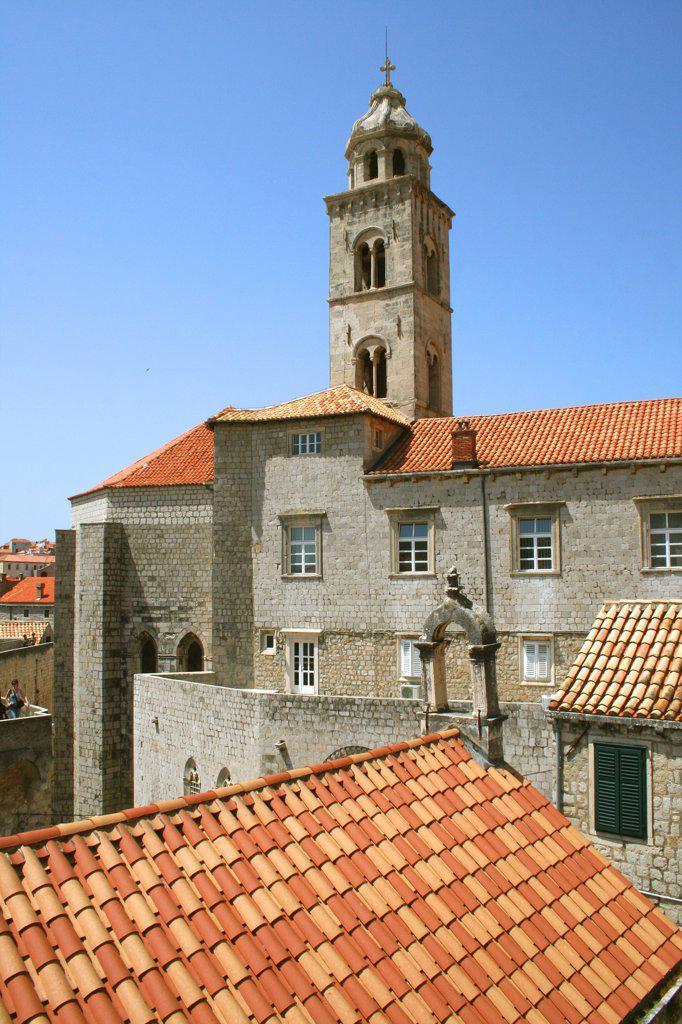 Bell tower in a city, Dubrovnik, Dalmatia, Croatia : Stock Photo
