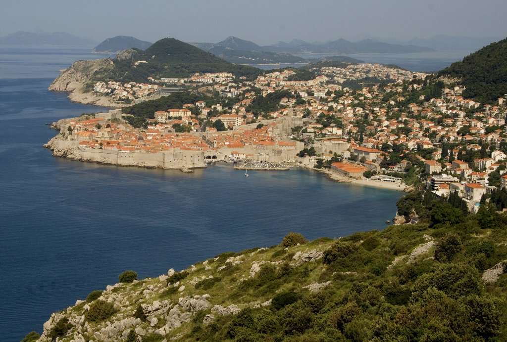 Stock Photo: 1818-239 High angle view of a city, Dubrovnik, Dalmatia, Croatia