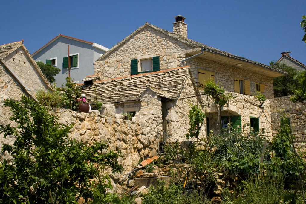 Low angle view of houses, Jurlinovi Dvori, Dalmatia, Croatia : Stock Photo
