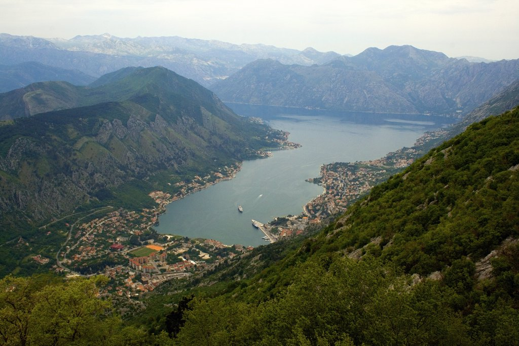 Stock Photo: 1818-241 High angle view of a town surrounded with mountains, Kotor, Montenegro