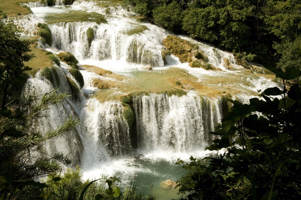 Stock Photo: 1818-246 Waterfall in a forest, Krka Waterfalls, Krka National Park, Dalmatia, Croatia