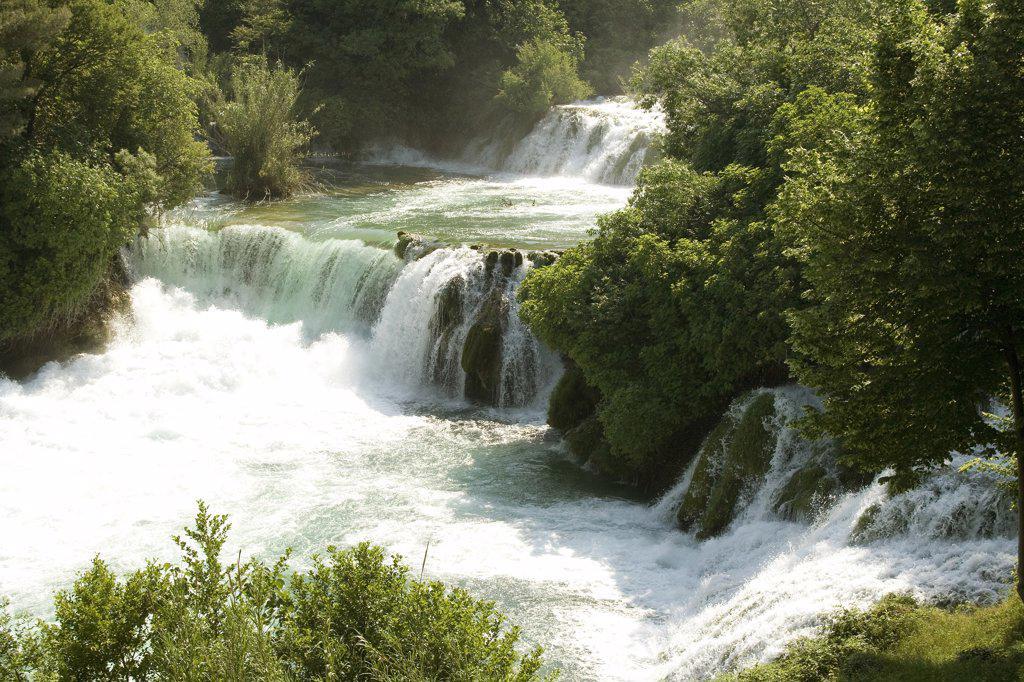 Stock Photo: 1818-247 Waterfall in a forest, Krka Waterfalls, Krka National Park, Dalmatia, Croatia