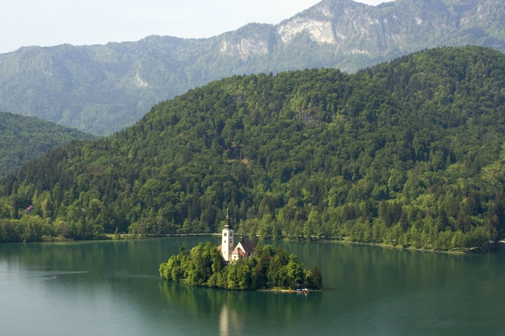Stock Photo: 1818-249 Church on an island, Santa Maria Church, Lake Bled, Bled, Slovenia