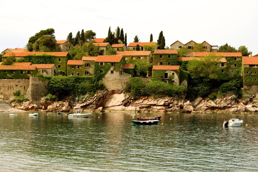 Stock Photo: 1818-254 Tourist resort at the waterfront, Sveti Stefan, Montenegro