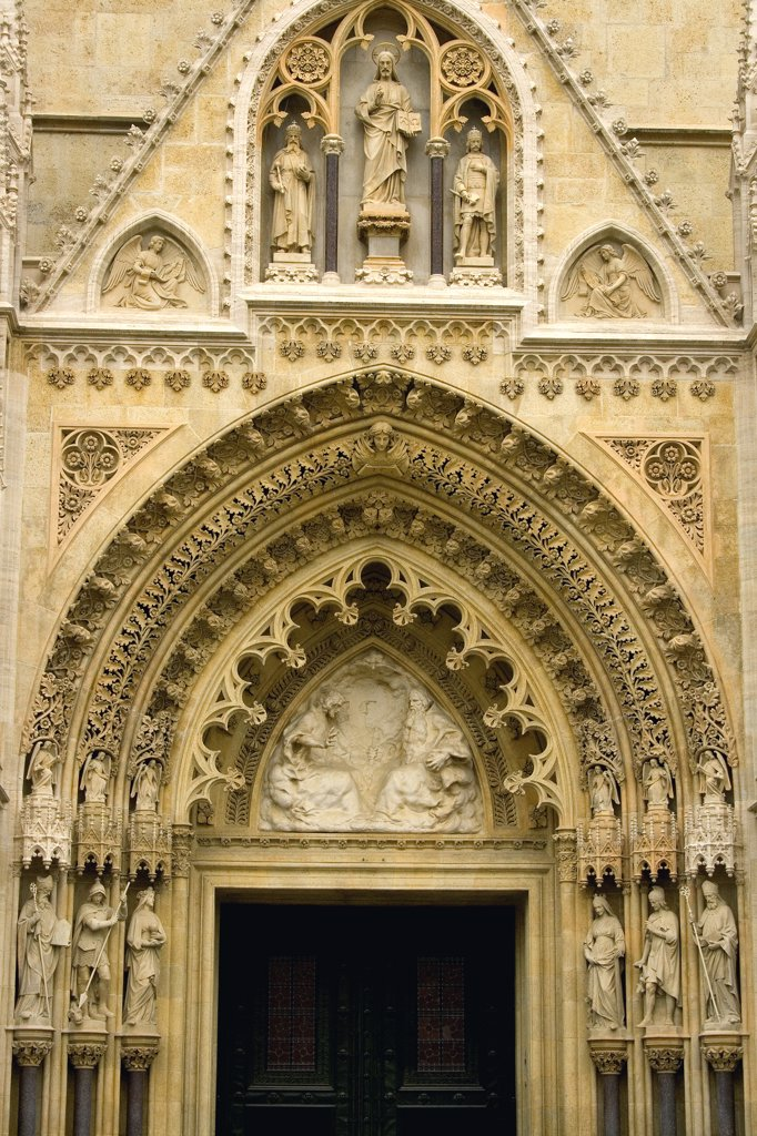 Entrance of a cathedral, Zagreb Cathedral, Kaptol, Zagreb, Croatia : Stock Photo