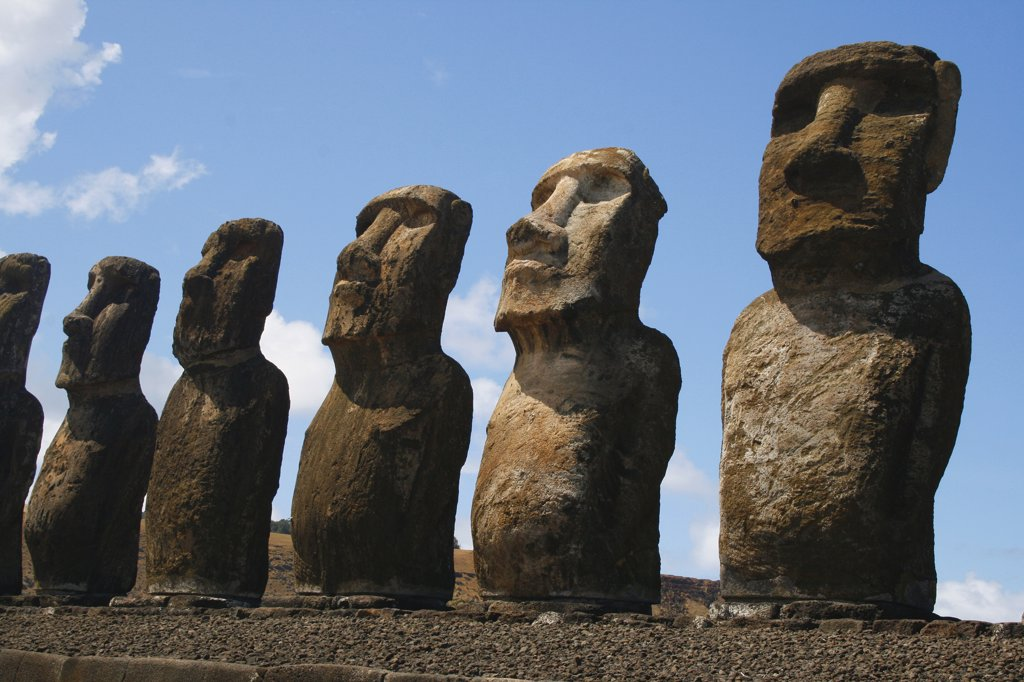 Stock Photo: 1818-266 Moai statues on a hill, Rano Raraku, Ahu Tongariki, Easter Island, Chile