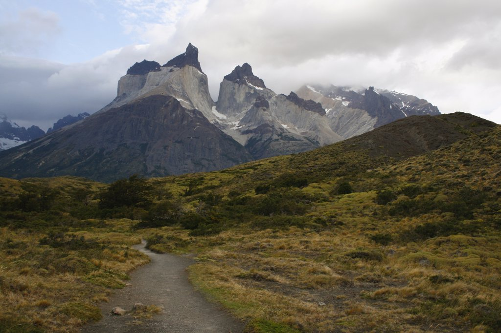 Stock Photo: 1818-274 Clouds over mountain range, Torres del Paine National Park, Patagonia, Chile