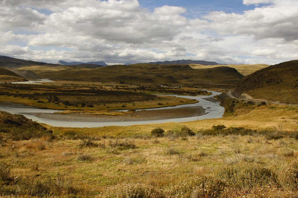 River flowing through a village, Torres del Paine National Park, Patagonia, Chile : Stock Photo