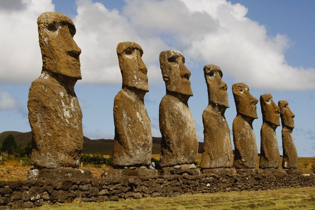 Stock Photo: 1818-278 Moai statues on a hill, Rano Raraku, Ahu Tongariki, Easter Island, Chile