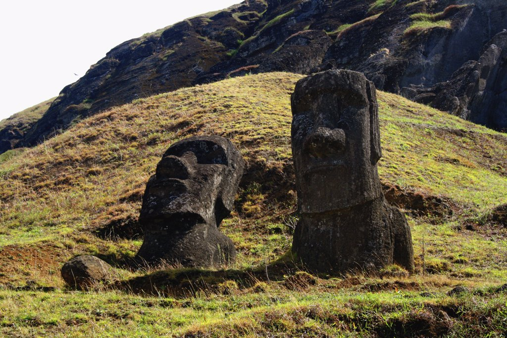 Stock Photo: 1818-280 Moai statues on a hill, Rano Raraku, Ahu Tongariki, Easter Island, Chile