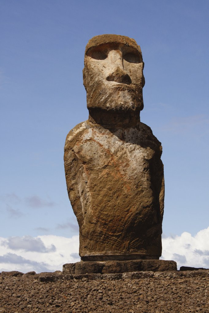 Moai statue, Rano Raraku, Ahu Tongariki, Easter Island, Chile : Stock Photo