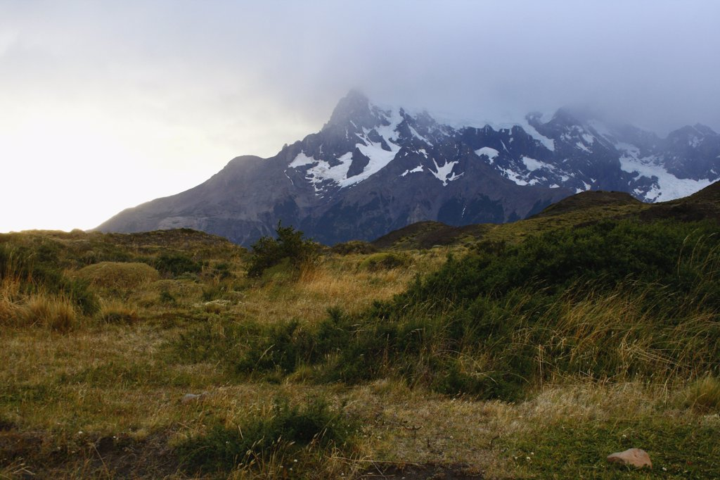 Stock Photo: 1818-284 Clouds over mountain range, Torres del Paine National Park, Patagonia, Chile