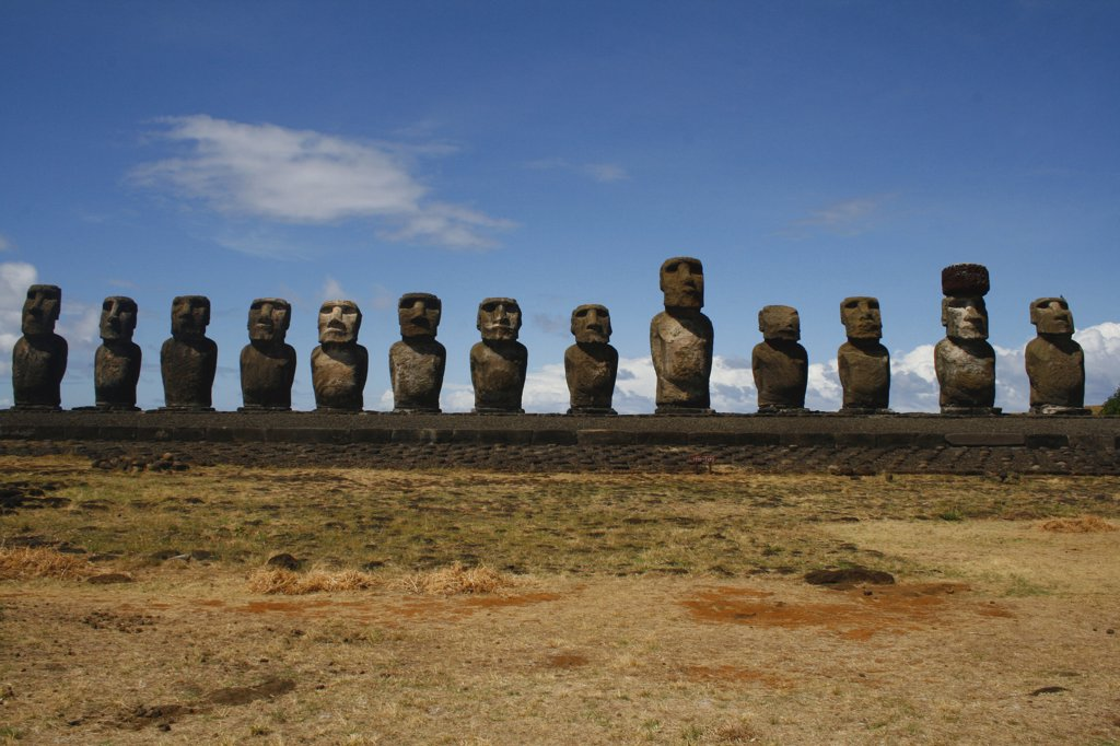 Stock Photo: 1818-294 Moai statues on a hill, Rano Raraku, Ahu Tongariki, Easter Island, Chile