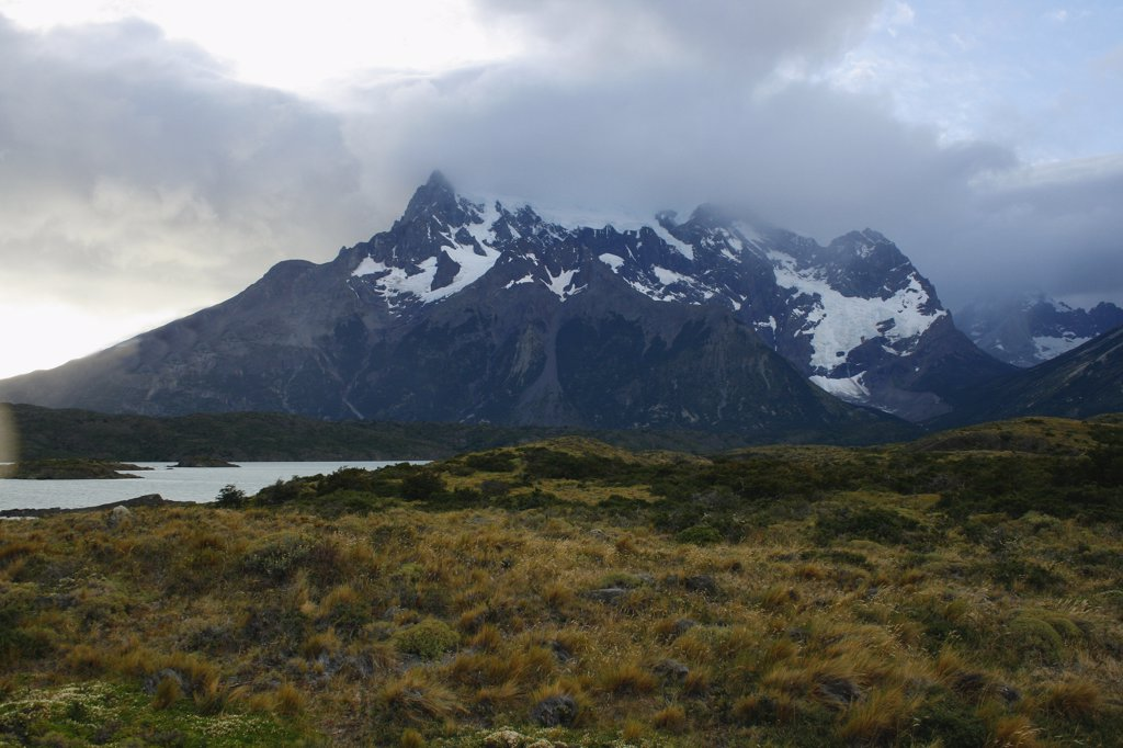 Clouds over mountain range, Torres del Paine National Park, Patagonia, Chile : Stock Photo