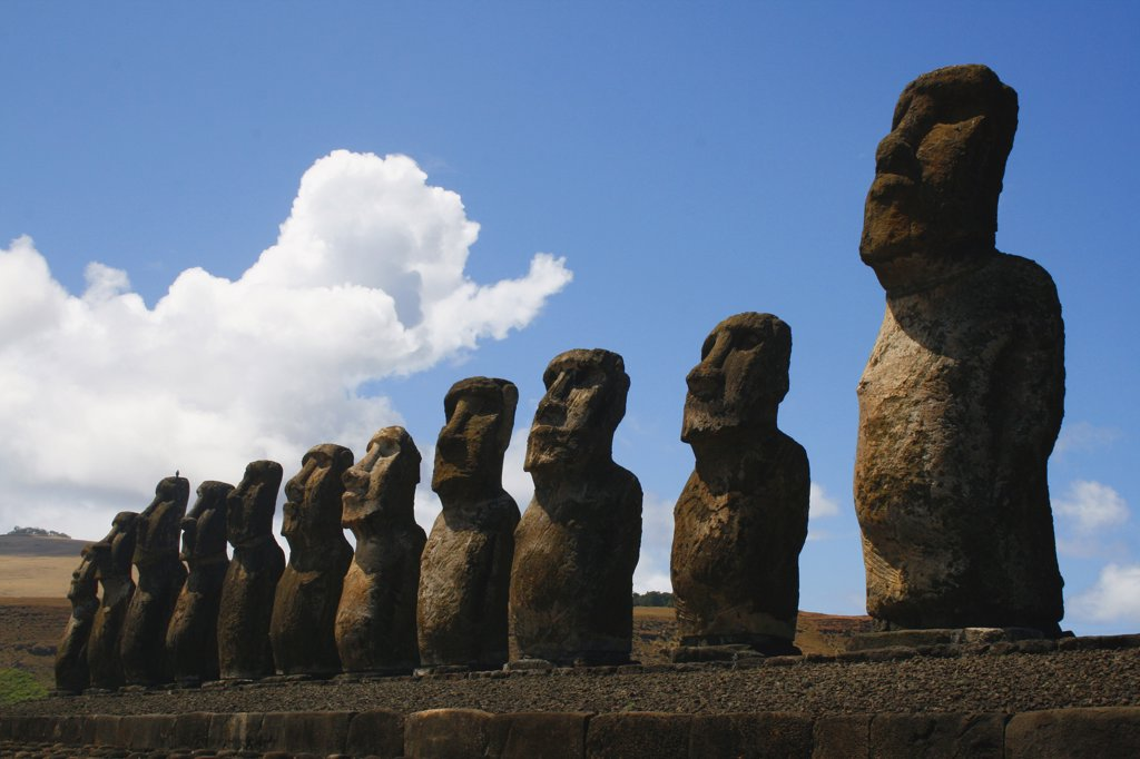 Stock Photo: 1818-314 Moai statues on a hill, Rano Raraku, Ahu Tongariki, Easter Island, Chile