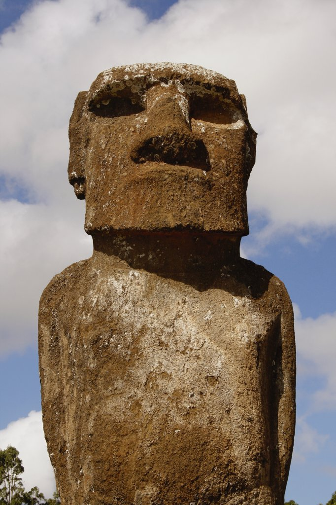 Stock Photo: 1818-316 Low angle view of a Moai statue, Rano Raraku, Ahu Tongariki, Easter Island, Chile