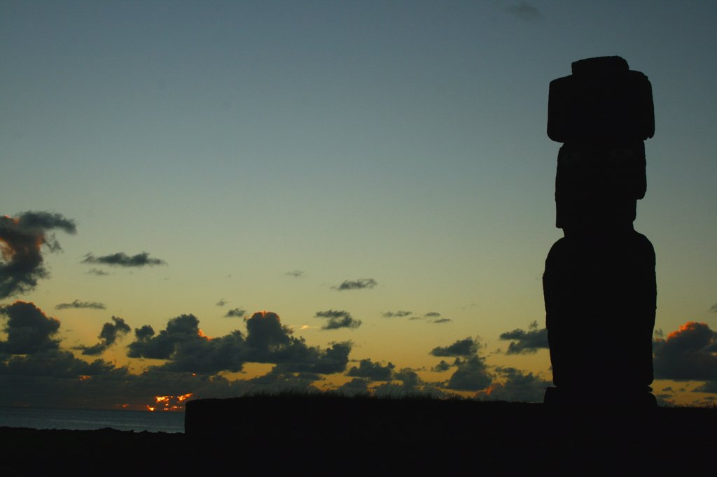 Stock Photo: 1818-320 Silhouette of a Moai statue, Rano Raraku, Ahu Tongariki, Easter Island, Chile