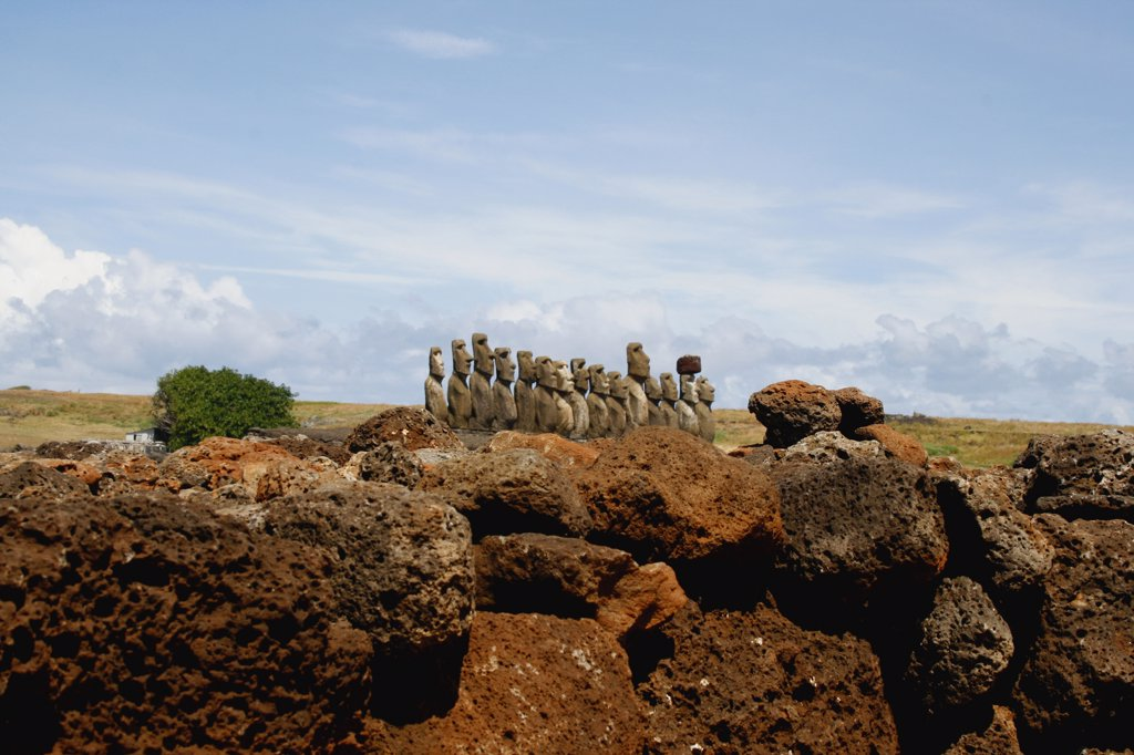 Moai statues on a hill, Rano Raraku, Ahu Tongariki, Easter Island, Chile : Stock Photo
