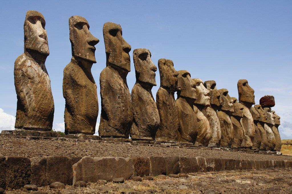 Stock Photo: 1818-336 Moai statues on a hill, Rano Raraku, Ahu Tongariki, Easter Island, Chile