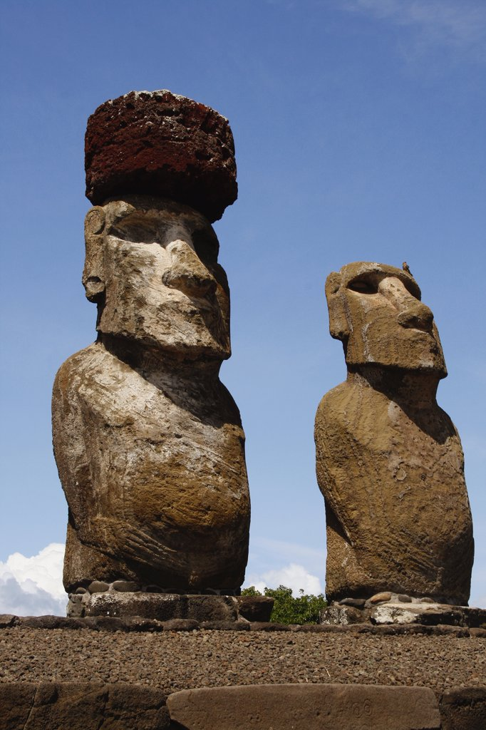 Stock Photo: 1818-338 Moai statues on a hill, Rano Raraku, Ahu Tongariki, Easter Island, Chile