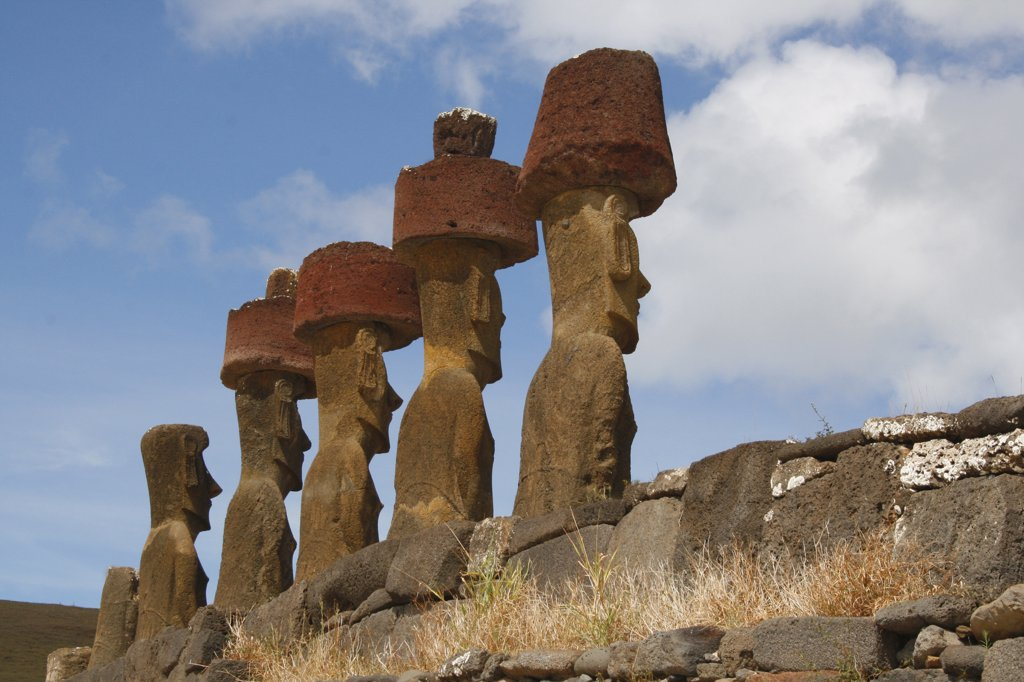 Stock Photo: 1818-340 Moai statues on a hill, Rano Raraku, Ahu Tongariki, Easter Island, Chile