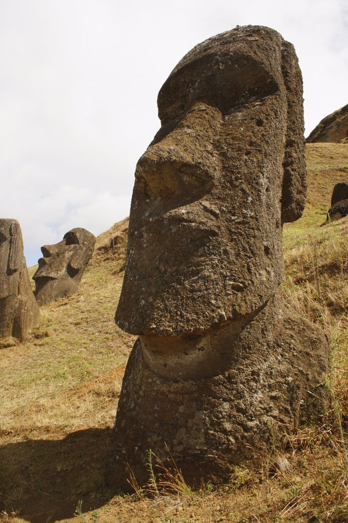 Stock Photo: 1818-342 Moai statues on a hill, Rano Raraku, Ahu Tongariki, Easter Island, Chile