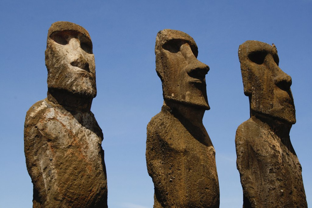 Stock Photo: 1818-344 Low angle view of Moai statues, Rano Raraku, Ahu Tongariki, Easter Island, Chile