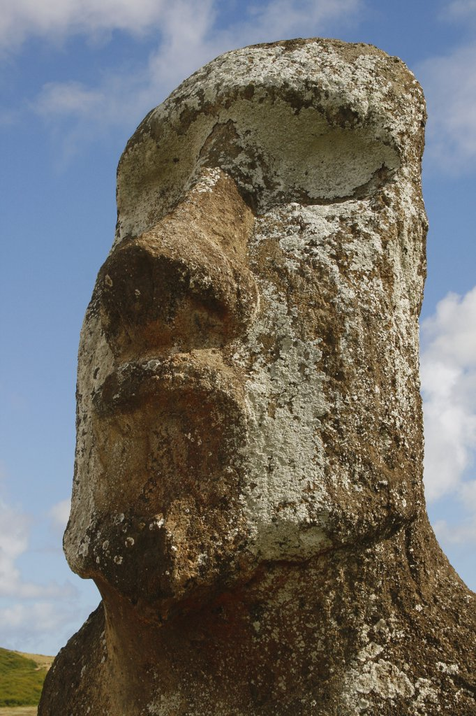 Low angle view of a Moai statue, Rano Raraku, Ahu Tongariki, Easter Island, Chile : Stock Photo