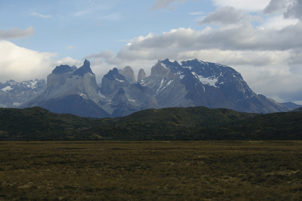 Stock Photo: 1818-356 Clouds over mountain range, Torres del Paine National Park, Patagonia, Chile