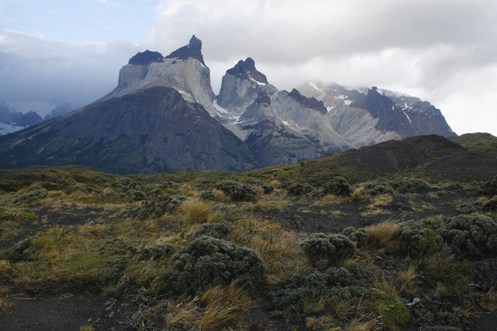 Stock Photo: 1818-358 Clouds over mountain range, Torres del Paine National Park, Patagonia, Chile