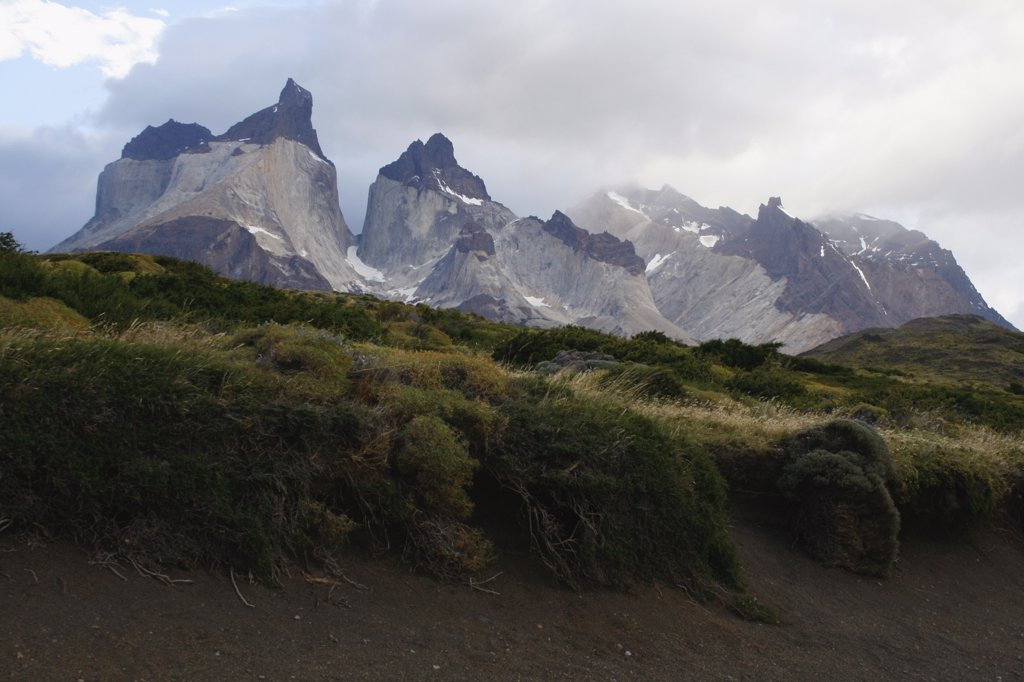 Stock Photo: 1818-368 Clouds over mountain range, Torres del Paine National Park, Patagonia, Chile