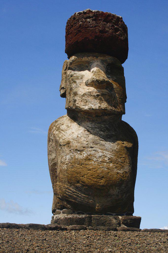 Stock Photo: 1818-378A Low angle view of a Moai statue, Rano Raraku, Ahu Tongariki, Easter Island, Chile