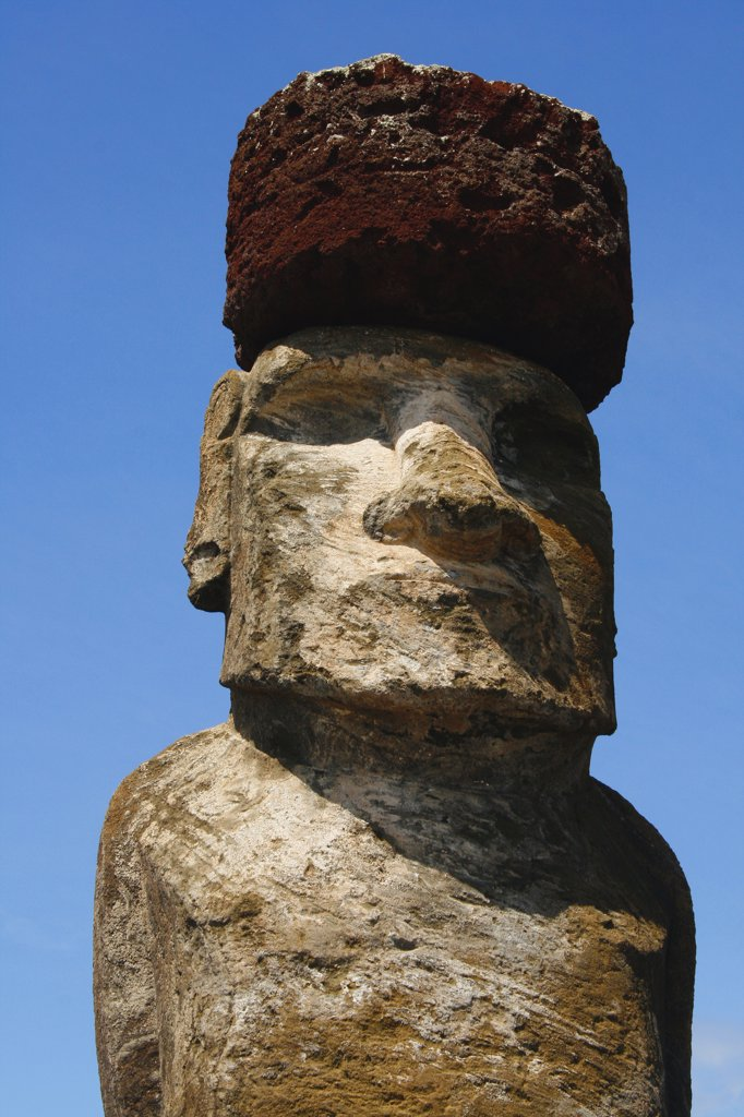 Stock Photo: 1818-378B Low angle view of a Moai statue, Rano Raraku, Ahu Tongariki, Easter Island, Chile
