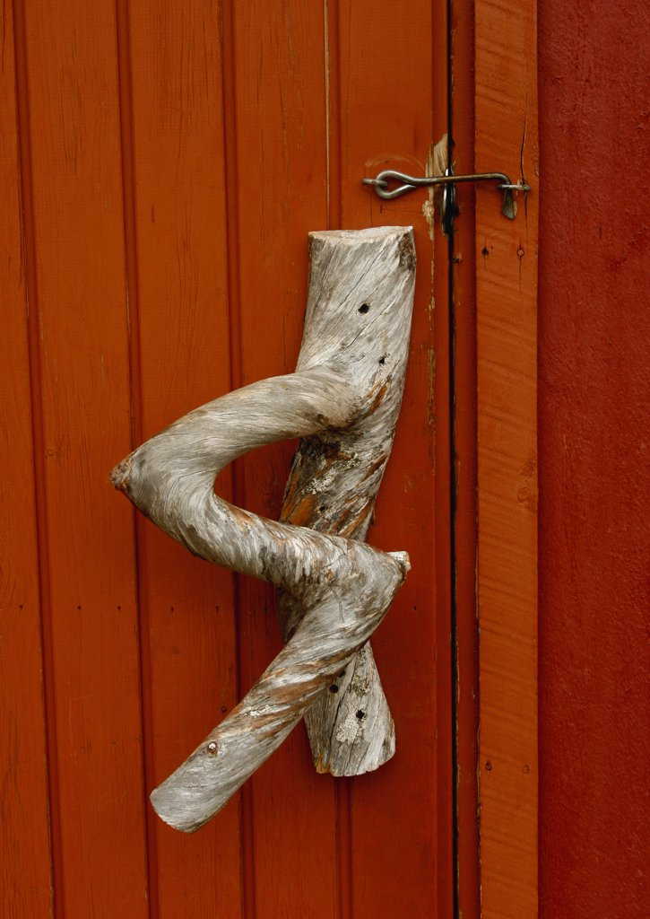 Stock Photo: 1818-379 Door handle of a closed door, Lapland, Norway