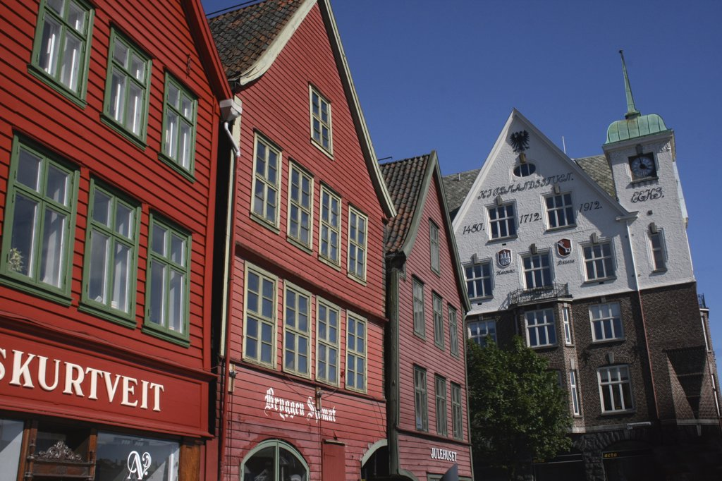Stock Photo: 1818-380 Row houses in a city, Bergen, Norway