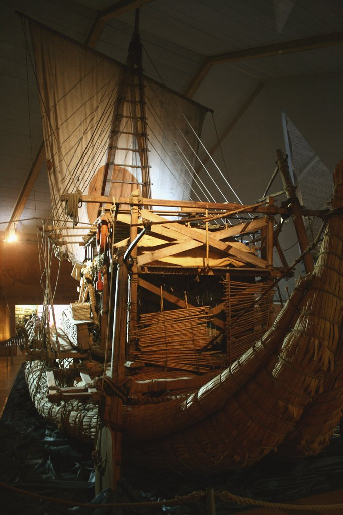 Antique ship in a museum, Kon-Tiki Museum, Oslo, Norway : Stock Photo