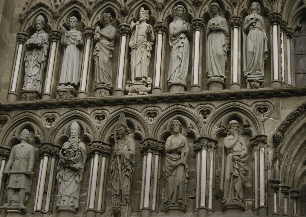 Statues at a cathedral, Nidaros Cathedral, Trondheim, Norway : Stock Photo
