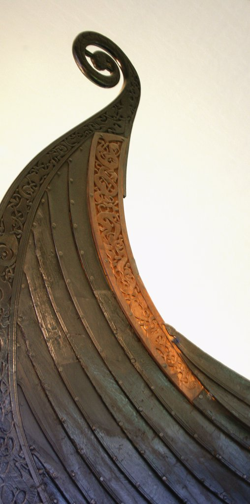 Close-up of a Viking ship's bow in a museum, Viking Ship Museum, Oslo, Norway : Stock Photo
