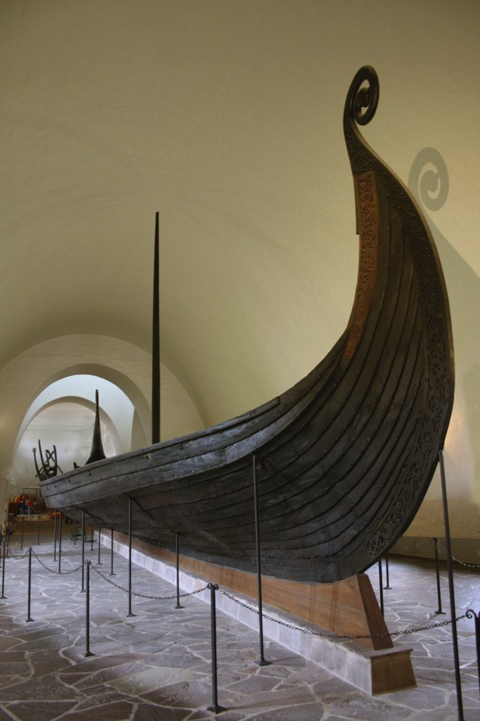 Viking ship in a museum, Viking Ship Museum, Oslo, Norway : Stock Photo