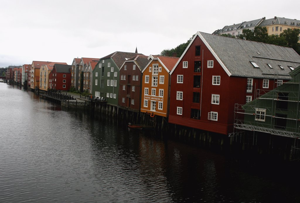 Warehouses at the waterfront, Trondheim, Norway : Stock Photo
