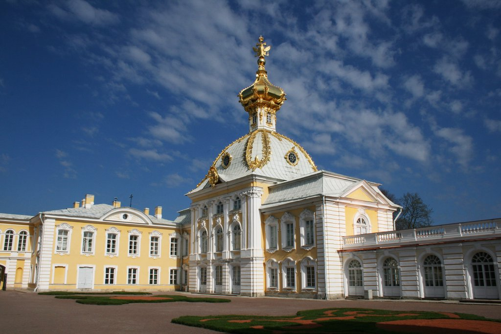 Stock Photo: 1818R-407 Russia, St. Petersburg, Wing of Peterhof palace