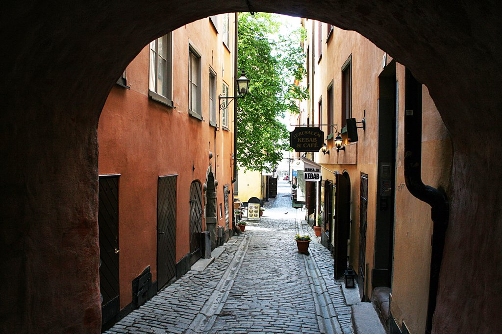 Sweden, Stockholm, Street in Gamla Stan section : Stock Photo