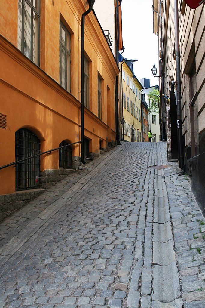 Stock Photo: 1818R-415 Sweden, Stockholm, Cobblestone street in Gamla Stan section