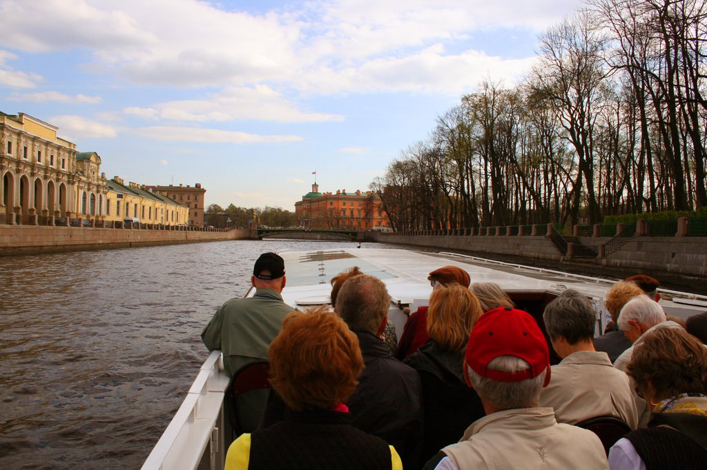 Russia, St. Petersburg, Canal boat tour : Stock Photo