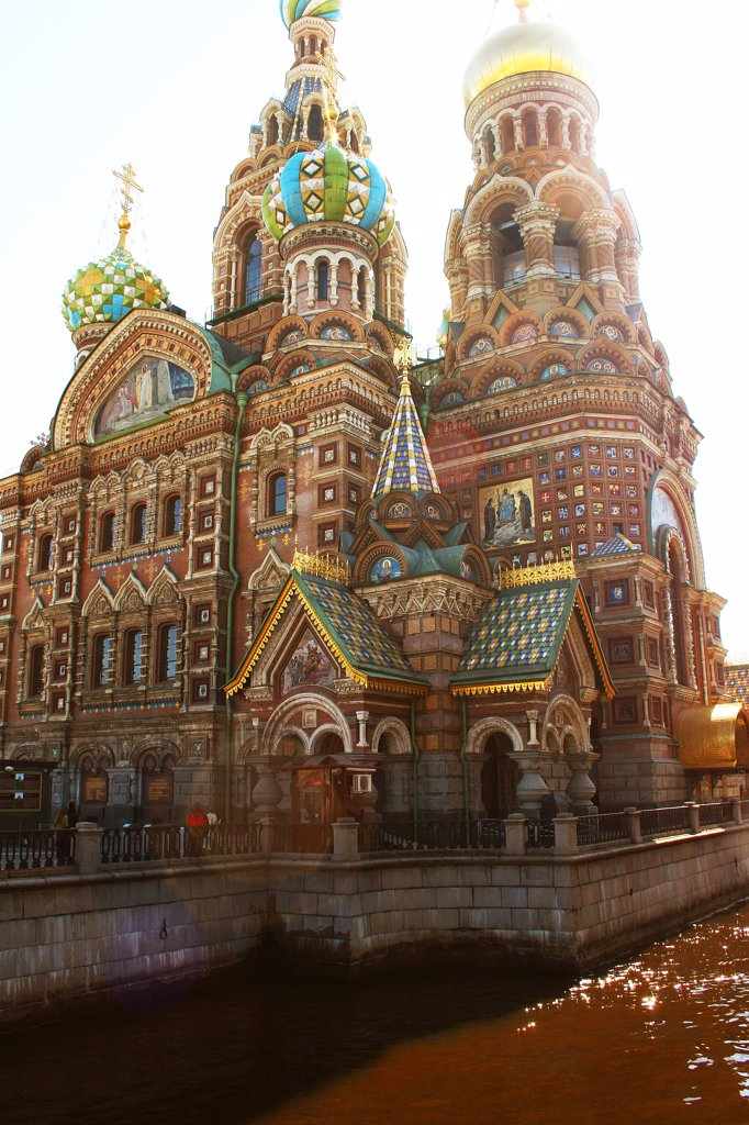 Russia, St. Petersburg, Church of the Resurrection of Christ, low angle view : Stock Photo