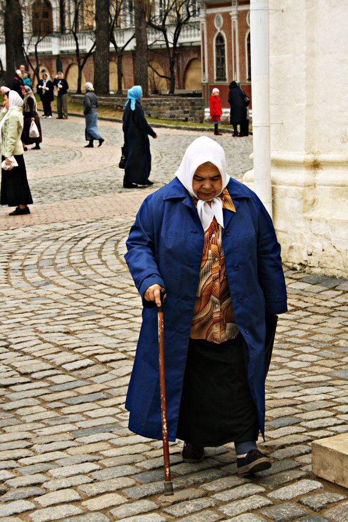 "Stock Photo: 1818R-431 Russian """"Babushka"""" peasant walking on street"