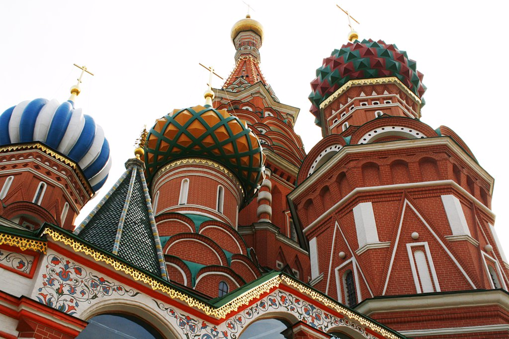 Stock Photo: 1818R-437 Russia, Moscow, Red Square, St. Basil's cathedral, Low angle view on dome towers