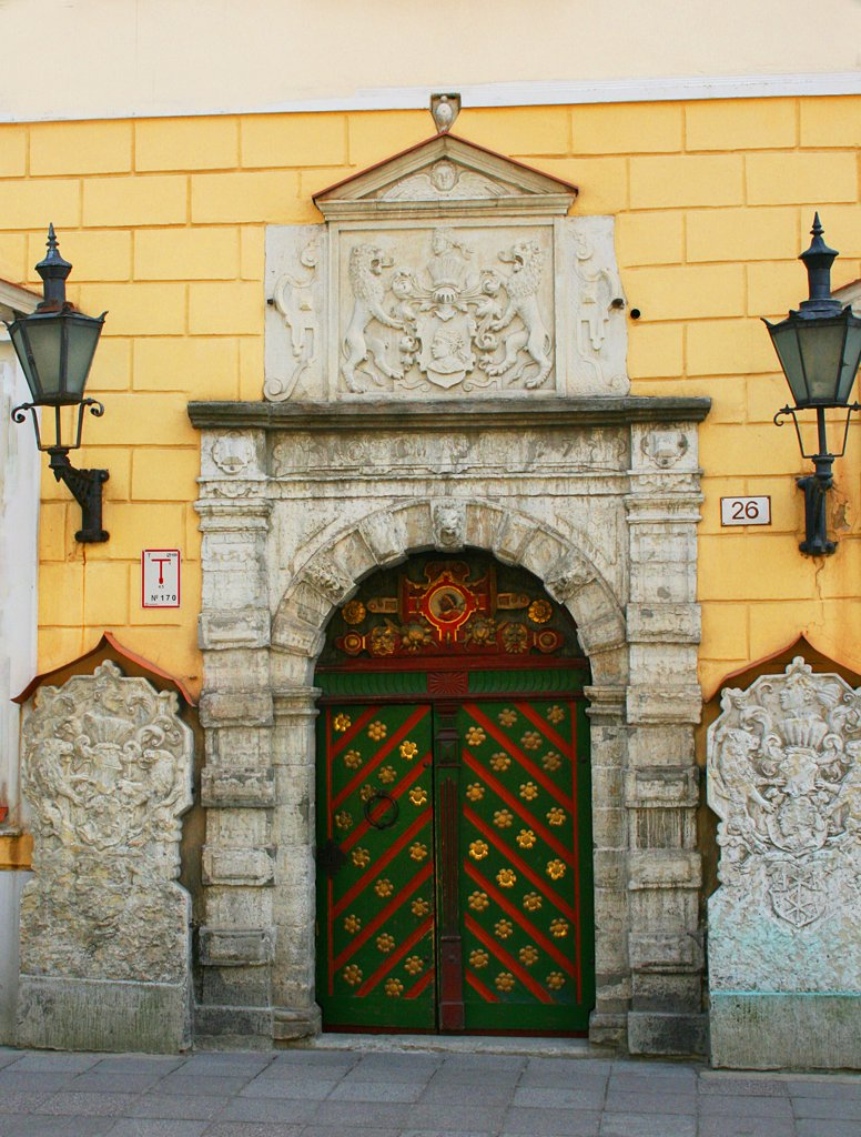 Stock Photo: 1818R-442 Estonia, Tallinn, Blackheads Hall for unmarried merchants, detail of door